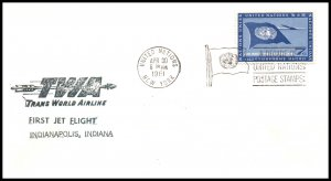 UN New York to Indianapolis,IN TWA 1961 First Jet Flight Cover