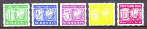 Rhodesia - Scott #J15-J19 - MNH - SCV $12
