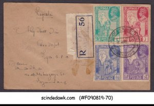 BURMA - 1946 REGISTERED COVER WITH KGVI VICTORY IN WWII STAMPS - USED