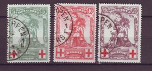 J14808 JLstamps 1914 belgium set used #b28-30 monument $85.00 scv