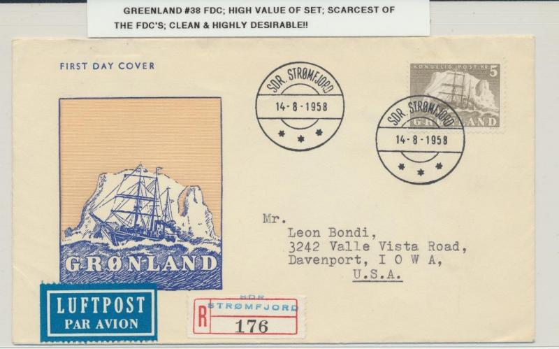 GREENLAND 1958, 5kr SHIP ON ILL. FIRST DAY COVER SC#38 SCARCE   (SEE BELOW)