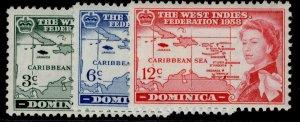 DOMINICA QEII SG159-161, complete set, M MINT.