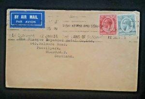 1935 Kenya & Uganda To Possilpark Glasgow Scotland Airmail Cover
