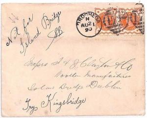 Z22 1890 GB IRELAND Drogheda Cover Dublin *NOT FOR ISLAND BRIDGE* QV Jubilees