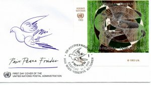 UN Vienna FDC #155a Peace Day Inscription Block (9452)