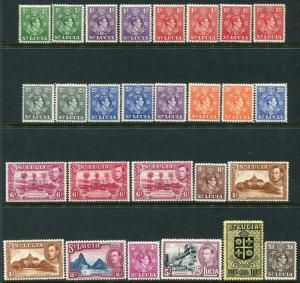 ST LUCIA-1938-48 Set to £1 Incl. all add. listed perfs/shades Sg 128-141 M/MINT