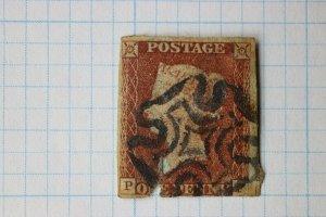 GB sc#3 fancy clear Maltese cross black SOTn cancel early penny red but faulty