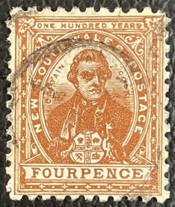 New South Wales #79 Used VF - 4 Pence Capt Cook (Inverted Wmk) 1888 [R802]