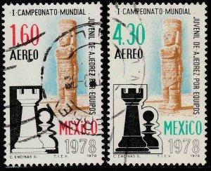 MEXICO C577-C578, World Chess Championship. USED VF. (805)