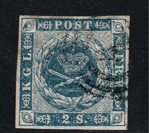 Denmark 1855 Scott #3 F-VF margins light Cancel Cat $60