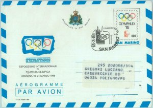 89795 - SAN MARINO - Postal History - SPECIAL STATIONERY OLYMPIC Stamp show 1985