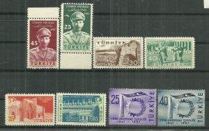 1957 Turkey 4 MNH complete sets of 2