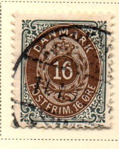 Denmark Sc 47 1895 16 ore slate & brown stamp used