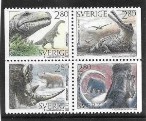 1992   SWEDEN  -  SG.  1652 / 1655  PREHISTORIC ANIMALS   -  MNH