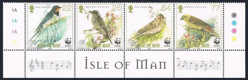 Isle of Man 860 ad,MNH. WWF 2000.Song Birds:Swallow,Flycatcher,Skylark,Hammer.