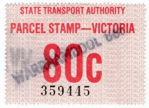 (I.B) Australia - Victoria Railways : Parcel Stamp 80c (Warrnambool)
