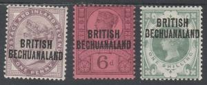 BRITISH BECHUANALAND 1891 QV GB 1D 6D AND 1/-
