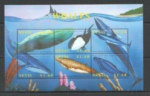K1363 NEVIS FAUNA FISH & MARINE LIFE WHALES 1KB MNH