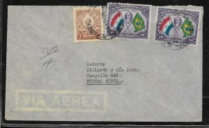 AAMER-55 PARAGUAY 1942 OLD COVER TO ARGENTINA 10Gs x2 FLAG+ 7GSX1 regular