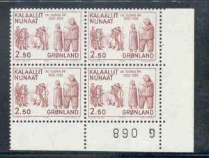 Greenland Sc150-2 1983 history stamp set blk of 4