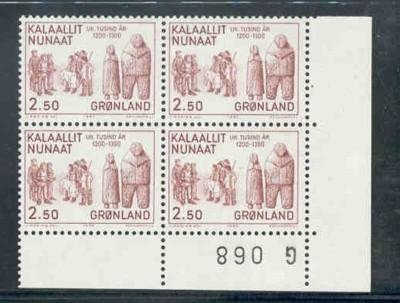 Greenland Sc150-2 1983 history stamp set blk of 4