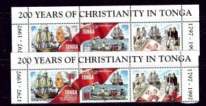 Tonga 961-62 MNH 1997 Christianity in Tonga 2 strips (been folded_