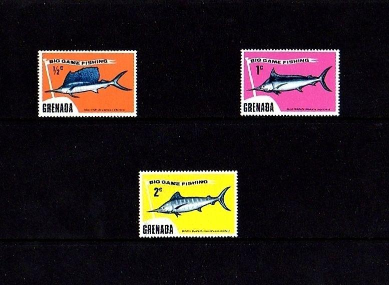 GRENADA - 1975 - FISH - GAME FISH - SAILFISH - MARLIN - 3 X MINT SINGLES!