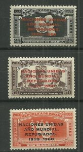 1960 Panama C227-9 compl. Year of the Refugee set MNH