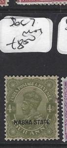 INDIA  NABHA   (P2508B)   KGV   4 A   SG 67       MOG