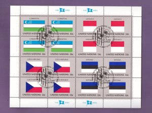 United Nations New York #726a  cancelled 1998 sheet flags Uzbekistan  Monaco