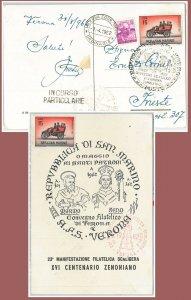 64064 - ITALIA Repubblica - STORIA POSTALE:  CARTOLINA speciale 1962  SAN MARINO