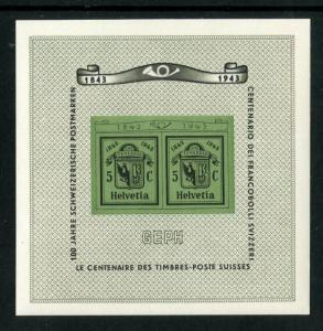 SWITZERLAND  B132 MNH S/S SCV $65.00 BIN $40.00