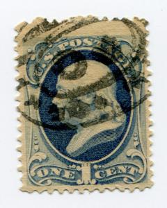 US SC#156 1873 1C FRANKLIN DARK BLUE USED