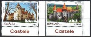 Romania. 2017. 7207-8. Castles, Europe. MNH.