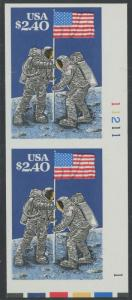 #2419b MOON LANDING IMPERF PAIR WITH PLATE NO. ERROR HW1325