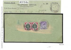 K114a 1913 GB SCOTLAND GPO Telephones KEVII Somerset House 1s Pair Johnstone CDS
