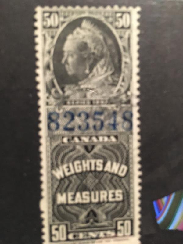 Canada Van Dam #FWM 49 Light Cancel Fine 1897 Victoria 50c Weights and Measures