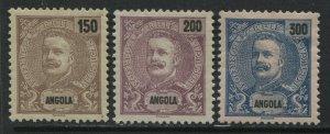 Angola 1898 3 high values mint o.g. hinged