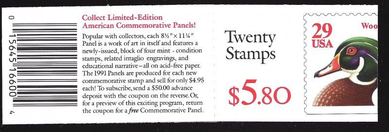 BK175 Mint,OG,NH... Booklet (1x2485a)... SCV $6.50... EFO Cover trimmed short