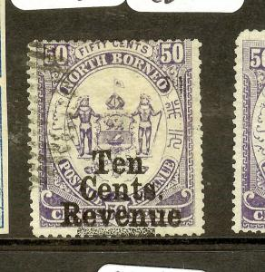 NORTH BORNEO (P2212B) 10C REVENUE/50C  SGF3  VFU