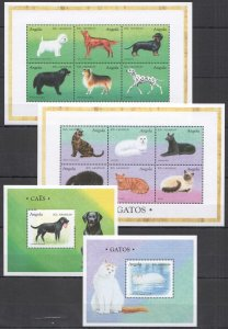 S1021 ANGOLA FAUNA DOMESTIC ANIMALS PETS DOGS & CATS 2BL+2KB MNH STAMPS