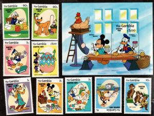Gambia # 498-507 Mint NH MNH Souvenir Sheet & Singles Disney!