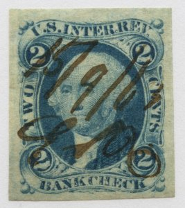 B52 U.S. Revenue Scott R5a 2-cent Bank Check imperf, 1863 manuscript cancel