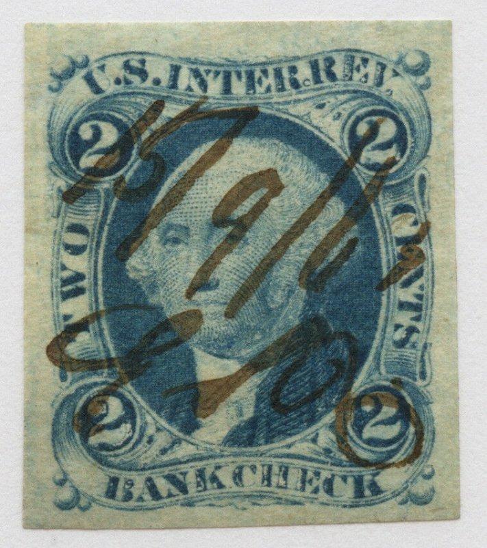 B52 U.S. Revenue Scott R5a 2-cent Bank Check imperf, 1863 manuscript cancel