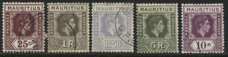 Mauritius 1938 KGVI 25¢, 1 r, 2 r 50¢, & 10 rupees all on chalky paper used