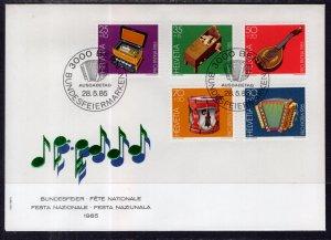 Switzerland B513-B517 Musical Istruments U/A FDC