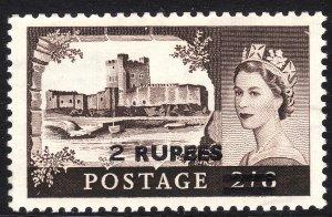 1960-61 Oman QE Castle surcharge 2 rupee Wmk 322 issue MVLH Sc# 92 CV $15.00