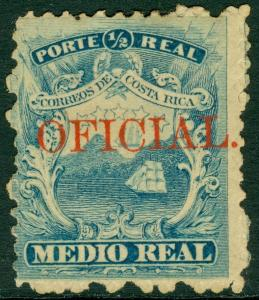 EDW1949SELL : COSTA RICA Scott #1 with Unlisted Official Overprint. Mint No Gum.