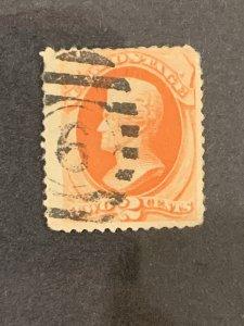 US Stamps # 183 AV/SE Skull & cross bone cancel
