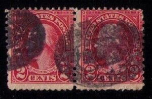 US Sc 634b 2 cent Washington Used Vert. Pair Carmine Lake Shade Fine